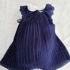 H&M Polka dotted pleated dress with ruffled sleeve